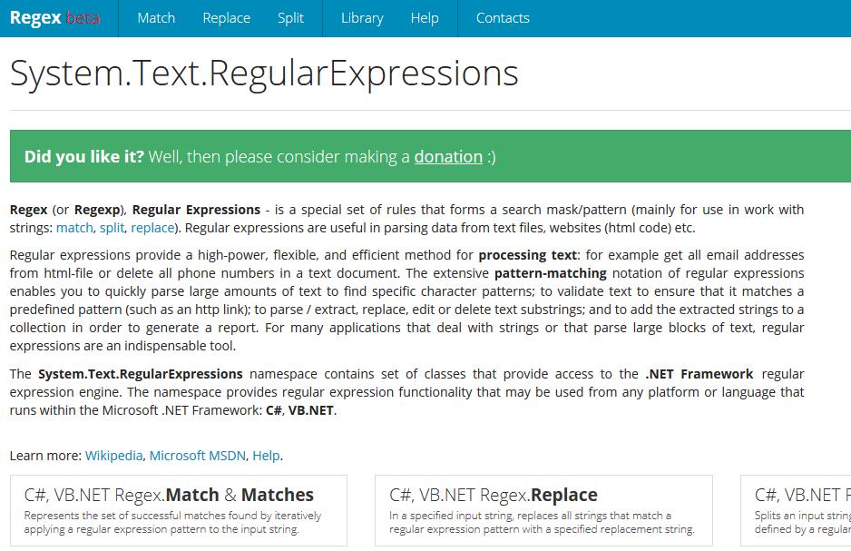 http://www.systemtextregularexpressions.com онлайн тестировщик .Net Regex